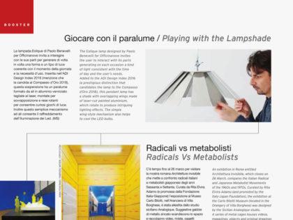 <b>Abitare, marzo 2017 </b><br />Giocare con il paralume. La rivista Abitare dedica un articolo alla lampada Eolique.