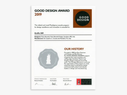 <b>Graffio: GOOD DESIGN Award </b><br />Graffio, disegnato da Paolo Benevelli per <br />De Castelli, ha vinto il GOOD DESIGN® Award 2019